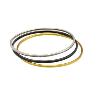 Gurhan Midnight 24-karat Gold and Sterling Silver Bangle Bracelets (Pack of 3)
