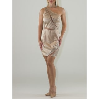Women's Shimmery V-Neck Peek-A-Boo Cocktail Dress