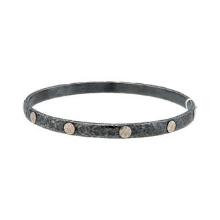 Gurhan Midnight Sterling Silver Two-tone Stacking Bangle Bracelet