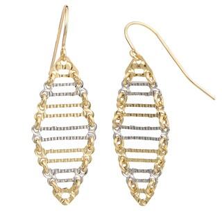 Fremada 14k Two-tone Gold Stylish Ladder Earrings