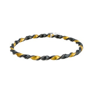 Gurhan Women's Midnight Gold and Blackened Sterling Silver 2-tone Twisted Bangle Bracelet