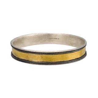 Gurhan Lancelot 24-karat White and Yellow Gold Sterling Silver Stacking Classic Bangle Bracelet