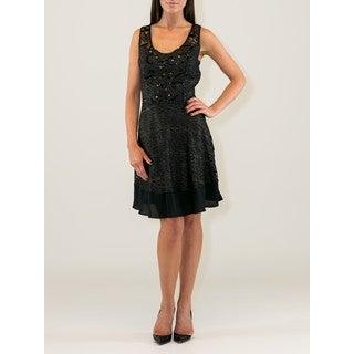 Black/Gold Polyester Dress with Lace and Beading