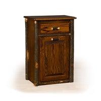 White Wooden Microwave Kitchen Cart With Hideaway Trash Can Holder - Hide away trash bin kitchen