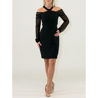 Little Polyester/Viscose Black Dress with Jewel Neck and Cold Shoulders