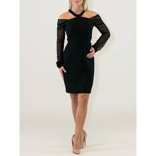 Little Polyester/Viscose Black Dress with Jewel Neck and Cold Shoulders|https://ak1.ostkcdn.com/images/products/13252864/P19966390.jpg?impolicy=medium