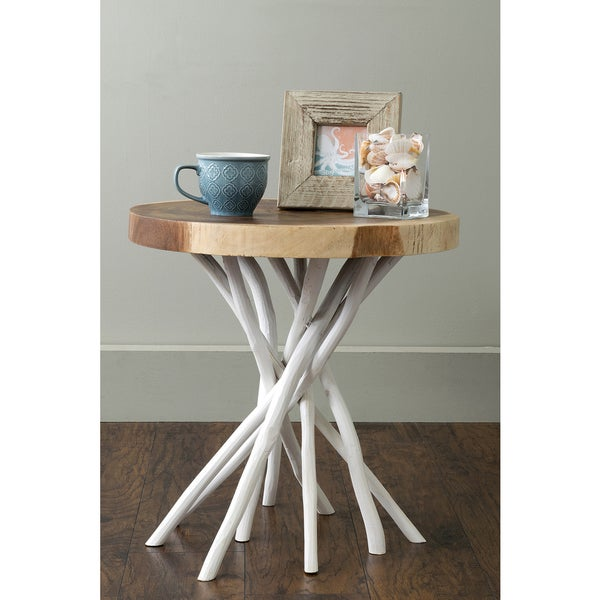 East At Mainu0027s Joeslin White Teakwood Round Accent Table