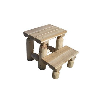 White Cedar Log Rustic Step Stool