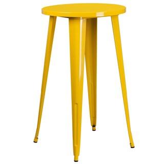 24'' Round Metal Indoor-Outdoor Bar Height Table