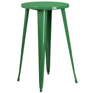 24-inch Round Metal Indoor-Outdoor Bar Height Table (Option: Green)
