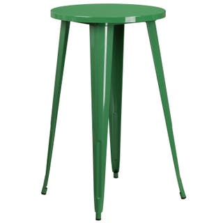 24 Inch Round Metal Indoor Outdoor Bar Height Table Option Green