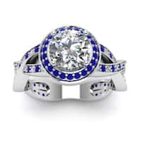 14k White Gold GIA-certified 7/8ct TDW Round-cut Diamond and Blue Sapphire Intertwist Engagement Ring (G-H, SI1-SI2)