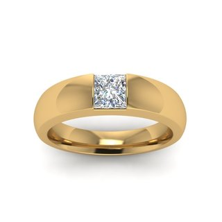14k Yellow Gold GIA-certified Men's 1/2ct TDW Princess-cut Diamond Solitaire Wedding Ring