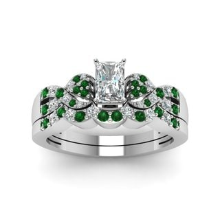 14k White Gold GIA-certified 3/4ct TDW Diamond and Emerald Wedding Ring (F-G, SI1-SI2)