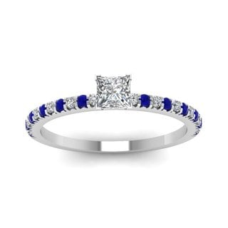 14k White Gold 5/8ct TDW Princess-cut Diamond and Sapphire Engagement Ring (E-F, VVS1-VVS2)