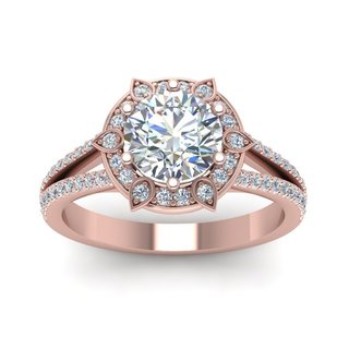 14k Rose Gold Beautiful Halo GIA-certified 3/4ct TDW Round-cut Diamond Engagement Ring (H-I, SI1-SI2)