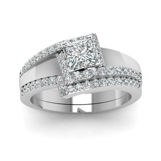 14k White Gold GIA-certified 3/4ct TDW Princess- and Round-cut Diamond Halo Engagement Ring