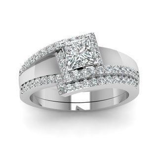 14k White Gold GIA-certified 3/4ct TDW Princess- and Round-cut Diamond Halo Engagement Ring (F-G, VS1-VS2)