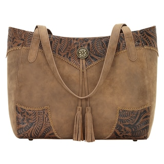 Bandana Guns and Roses Distressed Brown Concealed Carry Tote Bag