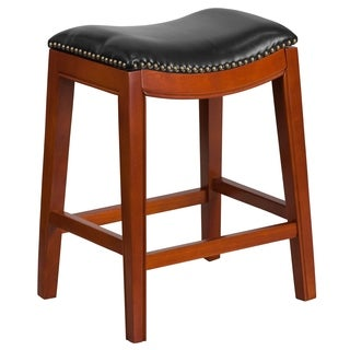 26-inch High Backless Wood Counter Height Stool with Leather Seat