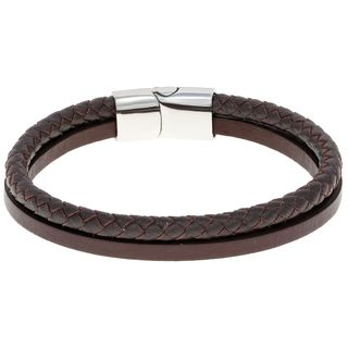 Stainless Steel and Brown Leather Bracelet
