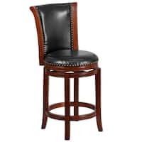26'' High Wood Counter Height Stool with Bonded Leather Swivel Seat