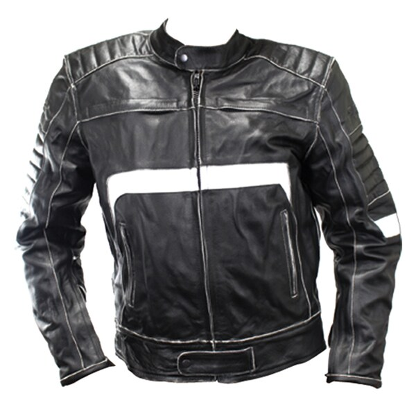 Perrini Men's Classic Black and White Motorbike Riding Genuine Leather Jacket
