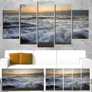 Designart 'Troubled Sunset Sea Waves' Beach Canvas Wall Art