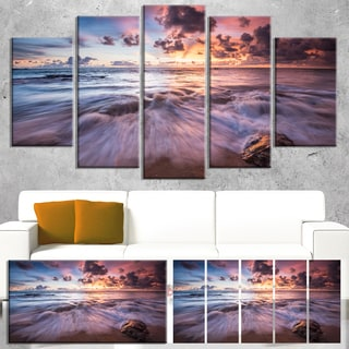 Designart 'Beautiful Sea Waves At Sunset' Beach Canvas Wall Art