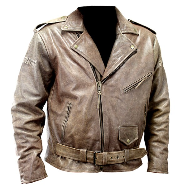Defencer Perrini New Men's Brown Genuine Buffalo Leather Motorbike Biker Retro Style Jacket