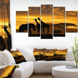 Giraffes and Elephant and Rhino' African Wall Art Canvas Print
