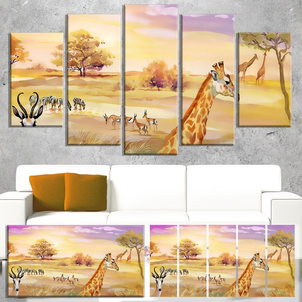 Designart \'Wildlife of Savannah Illustration\' African Wall Art ...