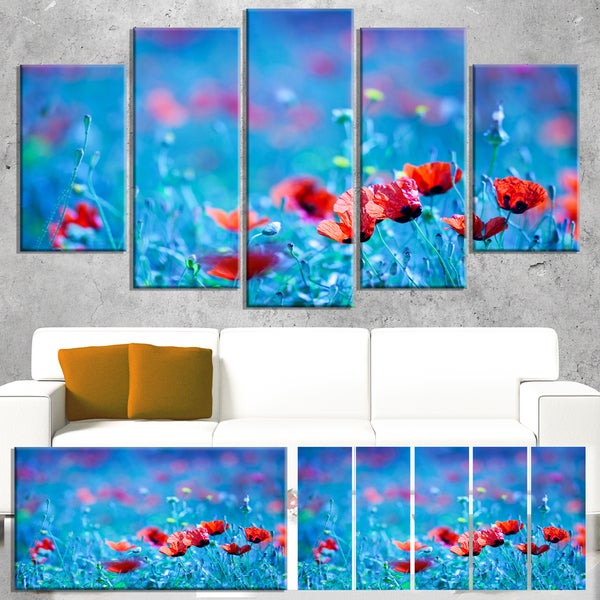 Designart 'Poppy Flowers Field At Night' Modern Floral Artwork on Canvas - Blue