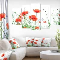 Poppy Flowers on White Background' Modern Floral Artwork on Canvas