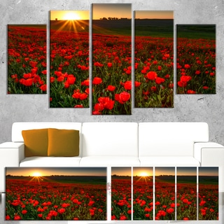 Designart 'Sunset over Garden with Red Poppies' Modern Floral Artwork on Canvas