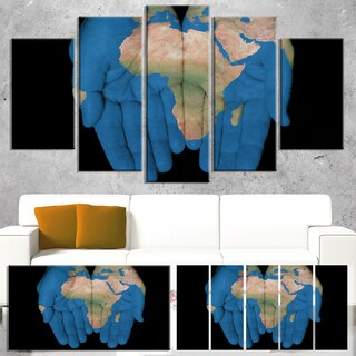 Designart 'African Map in Our Hands' Canvas Artwork' 60x32' 5 Panels