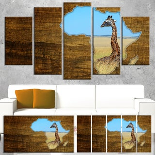 Designart 'Africa Wildlife Map Design' Canvas Artwork' 60x32' 5 Panels