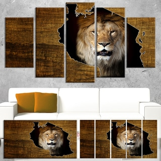 Designart 'Tanzania Wildlife Map Design' Canvas Artwork' 60x32' 5 Panels