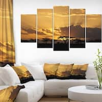 Sunset in Africa with Acacia Tree' Extra Large Landscape Canvas Art - Black