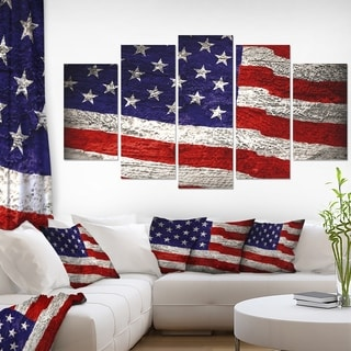 Designart 'Large American Flag Watercolor' Canvas Artwork' 60x32' 5 Panels