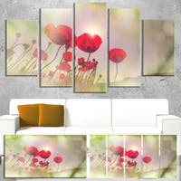 Designart 'Wild Red Poppy Flowers' Extra Large Floral Canvas Art