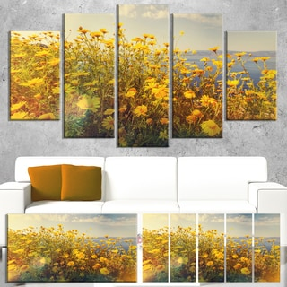 Designart 'Wild Yellow Flowers Meadow' Extra Large Floral Canvas Art