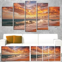 Designart 'Waves under Colorful Clouds' Large Seashore Canvas Print