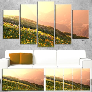 Designart 'Flowering Mountain Meadow View' Oversized Landscape Canvas Art