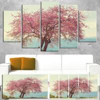 Designart 'Pink Flowers on Lonely Tree' Landscape Art Print Canvas - Pink