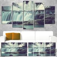 Designart 'Amazing Waterfall in Mexico' Landscape Art Print Canvas - White