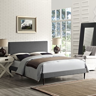 Phoebe Fabric Platform Bed with Round Tapered Legs in Gray