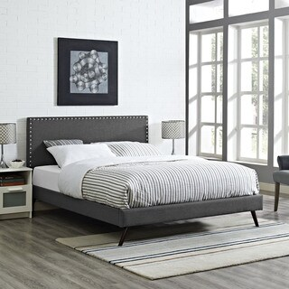 Phoebe Fabric Platform Bed with Round Splayed Legs in Grey