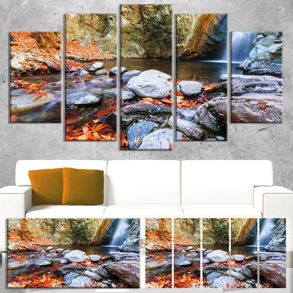 Designart 'Beautiful Serenity Waterfall in Cyprus' Landscape Print Wall Art - White