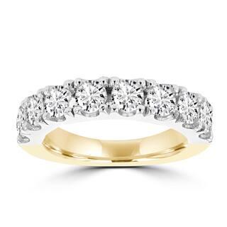 La Vita Vital 14k White and Yellow Gold 2.05 ct TDW Round Brilliant Diamond Wedding Band|https://ak1.ostkcdn.com/images/products/13253140/P19966616.jpg?impolicy=medium